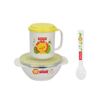 费雪儿童餐具饭碗勺水杯套装黄色