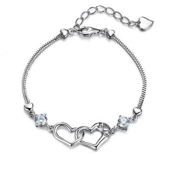中国•E·weil 925银女士双心手链