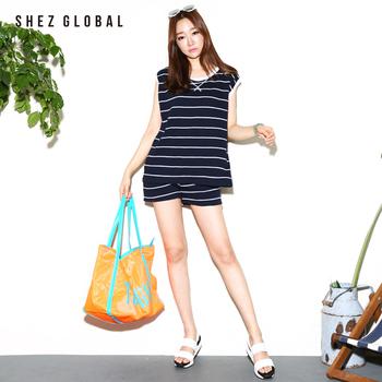 中国•韩国SZ纯棉条纹T恤短裤女两件套
