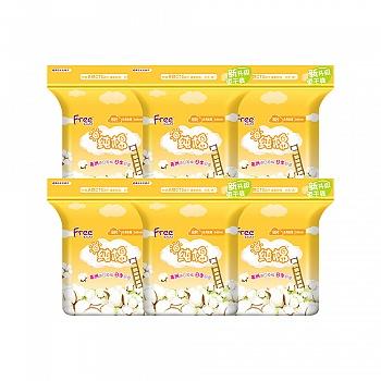 中国•Free·飞 日用丝薄纯棉表层卫生巾6包 共48片