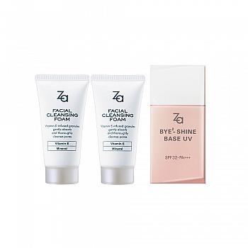 日本•Za清透美肌3件组(清透控油防晒妆前乳+洁面膏30g*2)