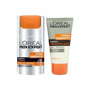 法国•欧莱雅(L'Oreal)男士劲能醒肤护肤套装(醒肤露50ml+洁面膏50ml赠)