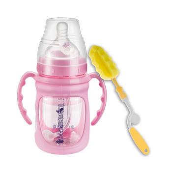 贝儿欣感温贴玻璃吸管奶瓶带保护套防摔180ml