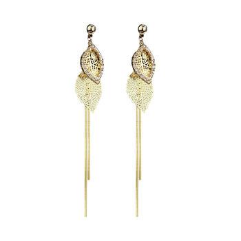 卡洛美 925银针长款树叶耳环