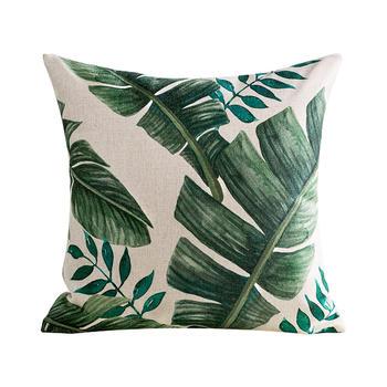 水彩绿色抱枕沙发靠枕