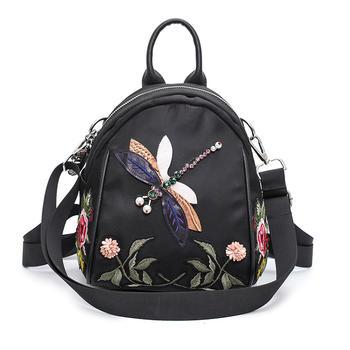 千黛名媛刺绣蜻蜓?#23578;?#36328;双肩包