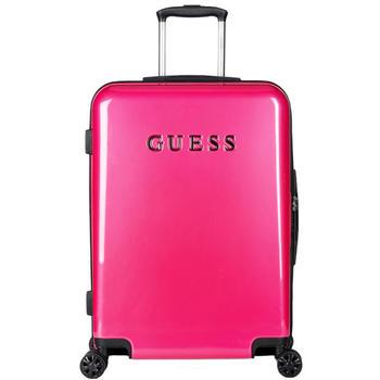 GUESS纯色旅行拉杆箱托运密码箱玫红色不含轮24寸