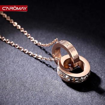 卡洛美 罗马数字双环钛钢锁骨链