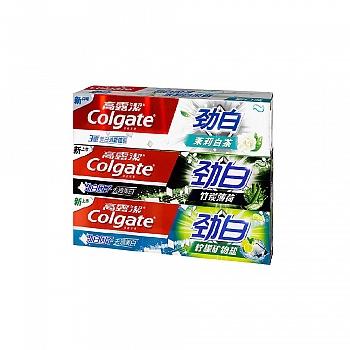 高露洁(Colgate)守护笑容劲白套装 120g*3(竹炭薄荷+柠檬矿物盐+茉莉白茶)(新老包装随机发货)