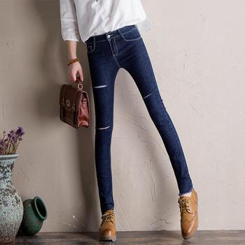 可奈丽莎割破小脚牛仔裤女铅笔裤
