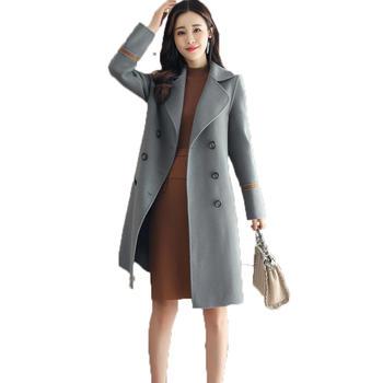 落雁莎纯色西装领羊毛毛呢外套