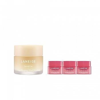 韩国•兰芝(LANEIGE)夜间保湿修护唇膜 香草4件套组