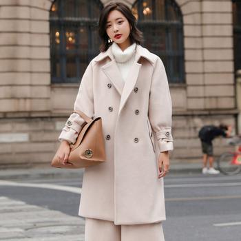 韩版女装纯色气质呢外套毛呢大衣