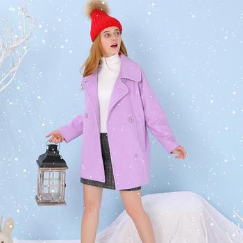 昕薇秋冬长袖呢子大衣修身羊毛
