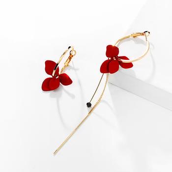 戴拉 925银针甜美花朵不对称耳环女气质长款耳饰耳坠