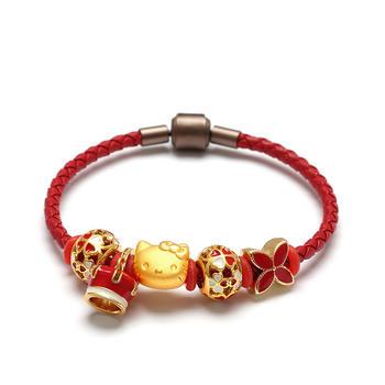 今上珠宝 3D硬金转运珠黄金手链猫