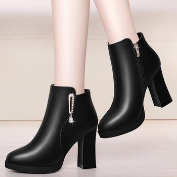 短靴女马丁靴粗跟英伦风高跟女靴