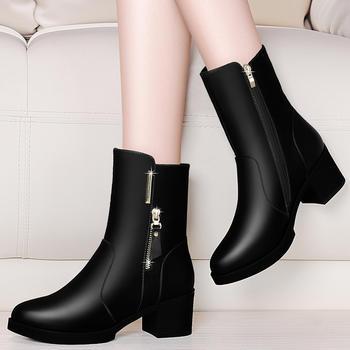 高跟雪地靴短靴子中筒靴粗跟女靴