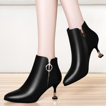 尖头细跟短靴马丁靴高跟水钻女靴