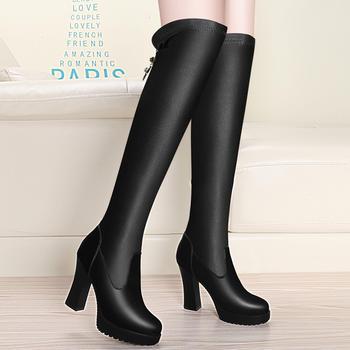 冬季长筒靴显瘦高跟防水台弹力靴