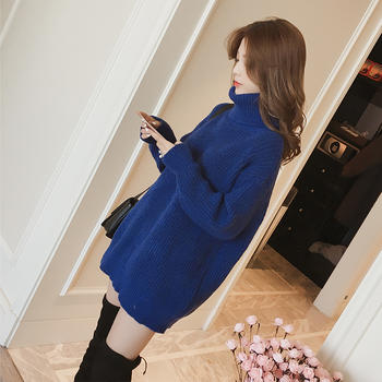 衣岚香高领中长款宝蓝色毛衣裙