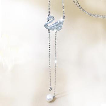 925银微镶锆石珍珠天鹅项链毛衣链