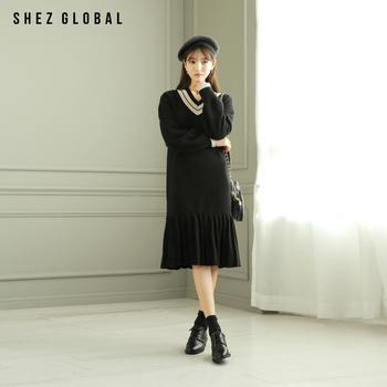 Shezglobal秋冬宽松v领套头针织裙女