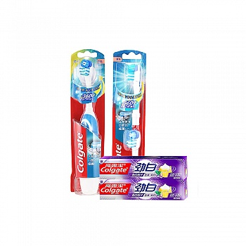 高露洁(Colgate)360全面口腔清洁 电动牙刷套装(电动牙刷*1+替换刷头2支装*1)送小苏打牙膏40g*2
