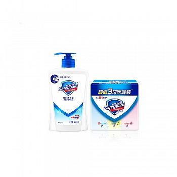 舒肤佳纯白清香型健康洗手液450ML+舒肤佳超值3块家庭装