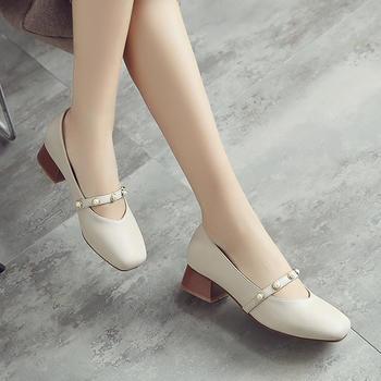 ZHR-新款韩版百搭休闲粗跟浅口单鞋一字带珍珠方跟鞋