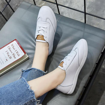 ZHR-新款牛皮平底小白鞋软底单鞋