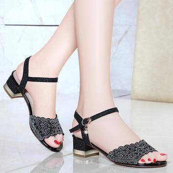 夏季粗跟凉鞋女潮黑色高跟女鞋子