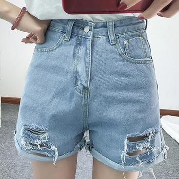 衣织优美 卷边版型牛仔短裤