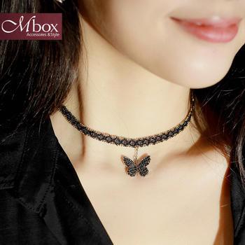 Mbox项链choker项圈爱之蝴蝶锁骨链