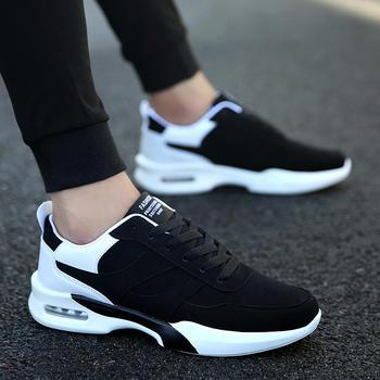 跨洋 时尚PU气垫运动男鞋 黑白