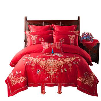 苏娜国际全棉大红婚庆四件套