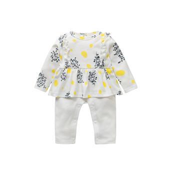 Cipango婴儿碎花黄点长袖连体哈衣
