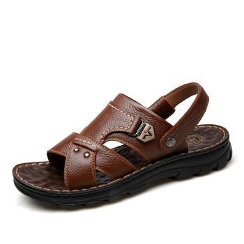 承发新款头层牛皮沙滩鞋 10498