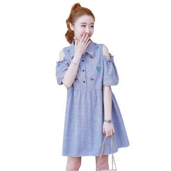 蚕坊俪 洋气绣花翻领漏肩衬衫裙