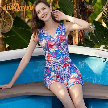 热浪 深V修身时尚裙式连体泳衣