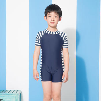 热浪 男童弹力平角连体泳装