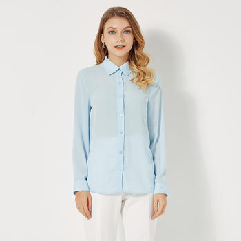 百搭纯色长袖休闲立领打底衬衣
