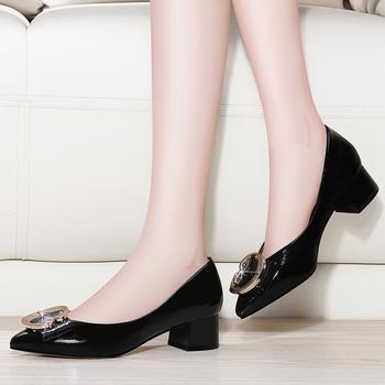 尖头单鞋女春夏季浅口粗跟女鞋