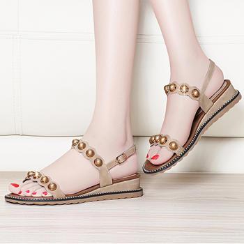 罗马凉鞋女夏季女神平底坡跟凉鞋