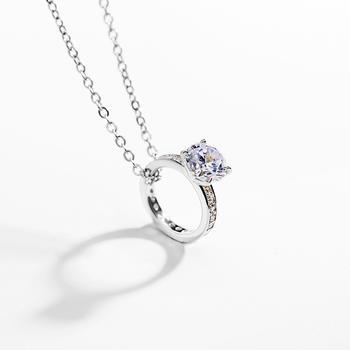 戴拉 925银时尚简约戒指吊坠项链女百搭个性短锁骨链