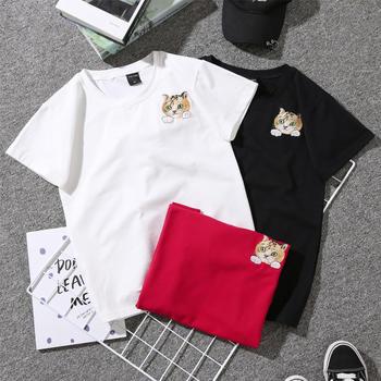 红运格格刺绣猫咪短袖T恤女