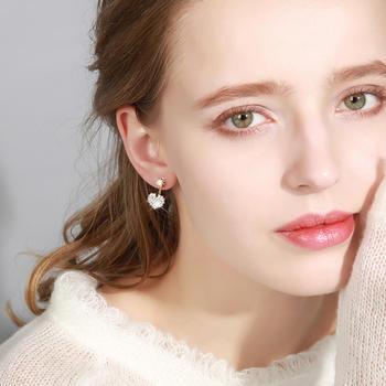 戴拉  925银针闪耀爱心两戴法耳环甜美气质耳钉耳饰