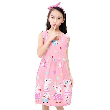 猪猪的故事 儿童绵绸连衣裙睡衣睡衣宝宝薄款小女孩