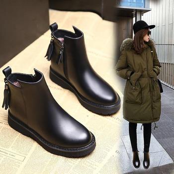 艾微妮魅力及踝靴流苏休闲短靴
