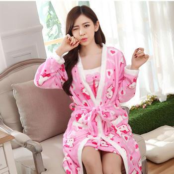 麦晴加厚法兰绒粉色KT睡裙两件套